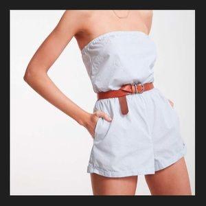 KIMCHI BLUE & WHITE ROMPER URBAN OUTFITTERS